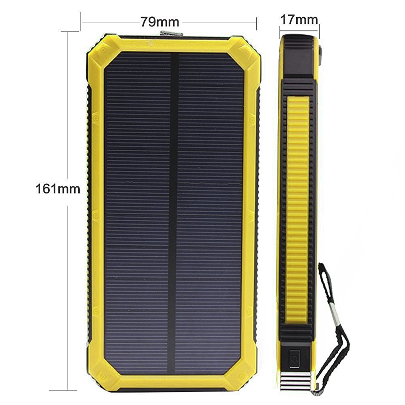 Queenacc Queenacc15000mah Solar Panel Chargeryellow With Led Battery Charging Flashlight Hallomall Portable Phone Charger Backup Power Pack Dual Usb Port External